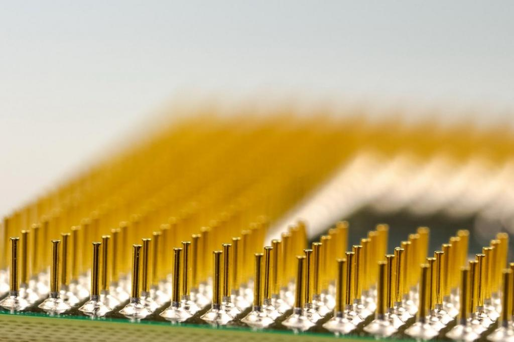 computer component pins close up gold connector cpu